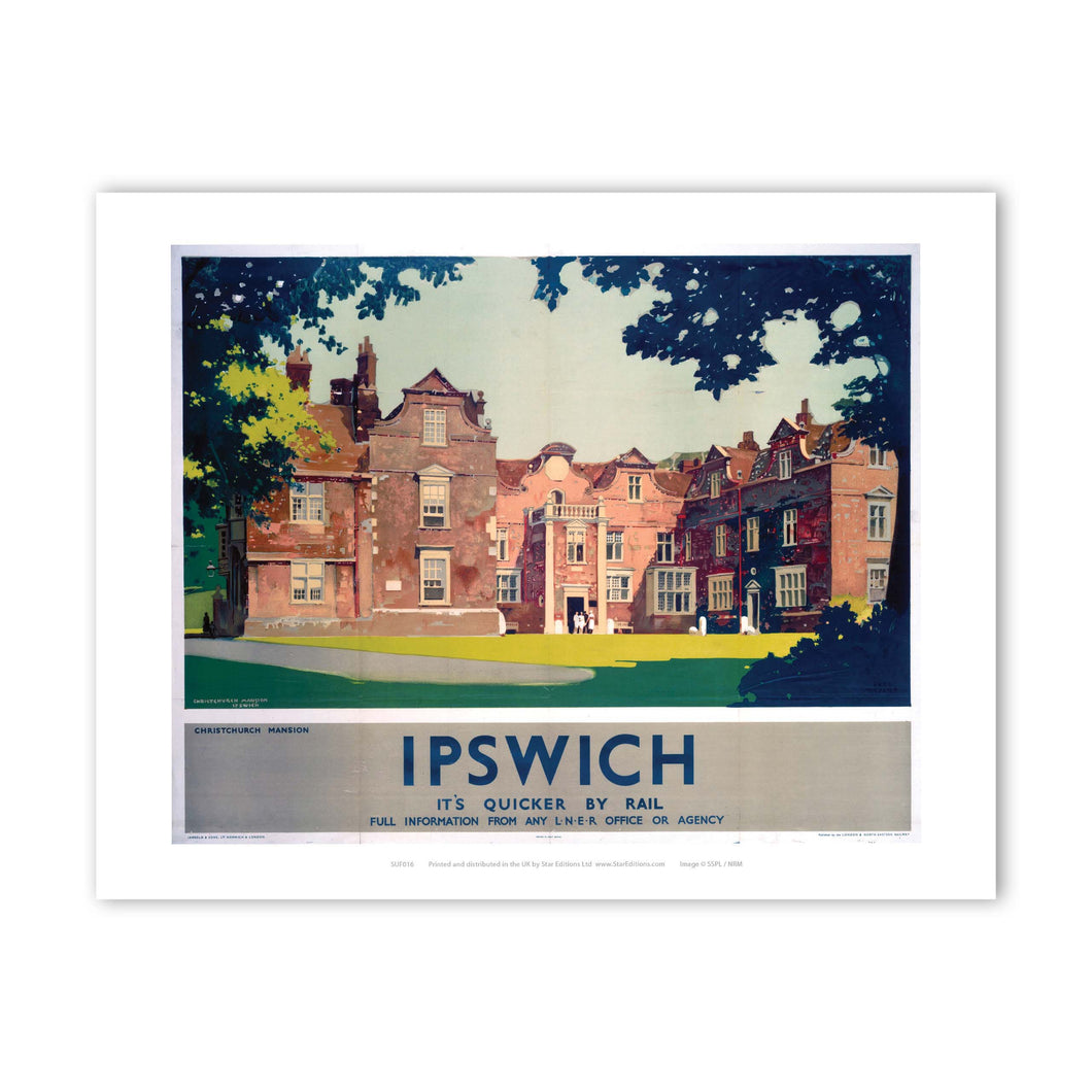 Christchurch Mansion Ipswich - It's Quicker By Rail Art Print