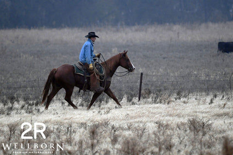 Frosty grass crunches underneath this cowboy and his horse.