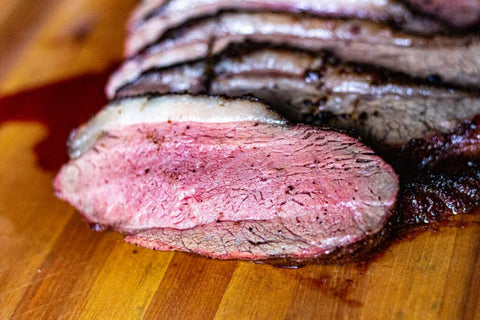 Roasted and sliced all natural Angus Picanha roast