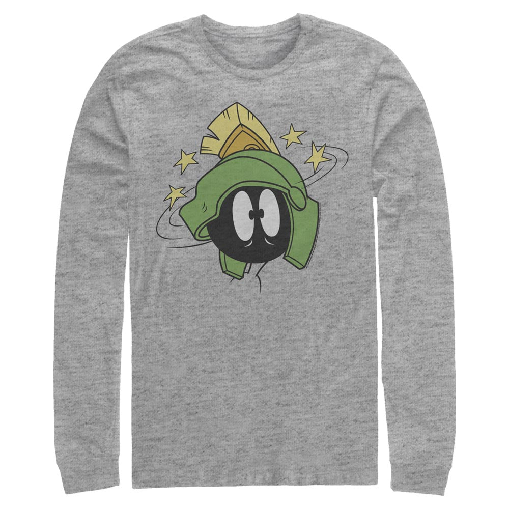 Grey Heather Marvin the Martian Scared Face Long Sleeve Tee from Looney Tunes Image