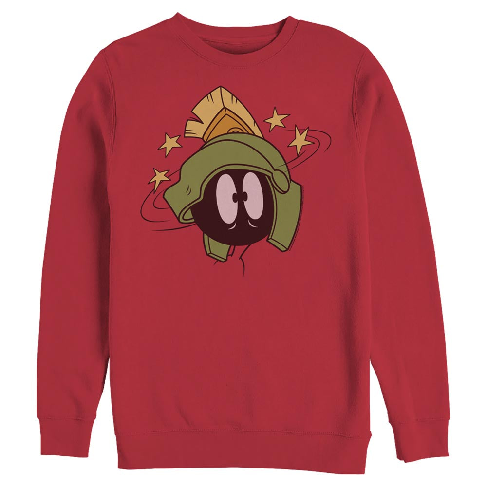 Red Marvin the Martian Scared Face Crew Sweatshirt from Looney Tunes Image