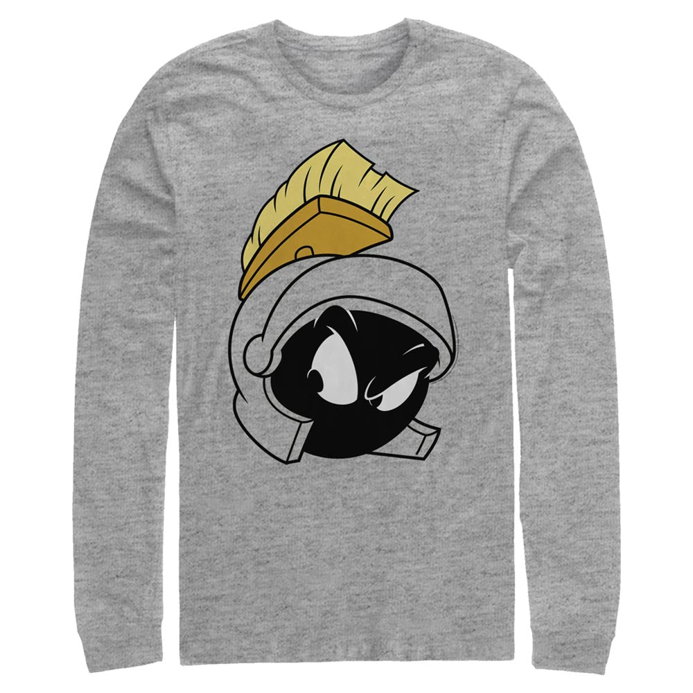 Grey Heather Marvin the Martian Big Face Long Sleeve Tee from Looney Tunes Image