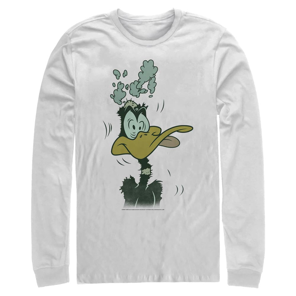 White Daffy Duck Mind Blown Long Sleeve Tee from Looney Tunes Image