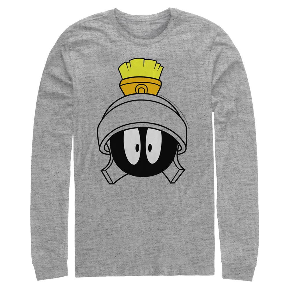 Grey Heather Marvin the Martian Surprised Face Long Sleeve Tee from Looney Tunes Image