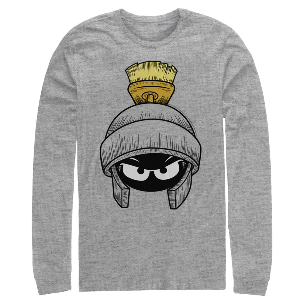 Grey Heather Marvin the Martian Long Sleeve Tee from Looney Tunes Image