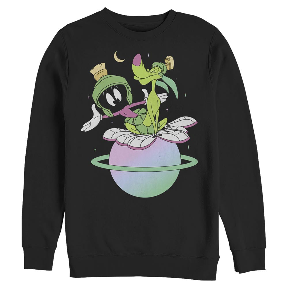 Black Marvin the Martian and K-9 Planet Crew Sweatshirt from Looney Tunes Image