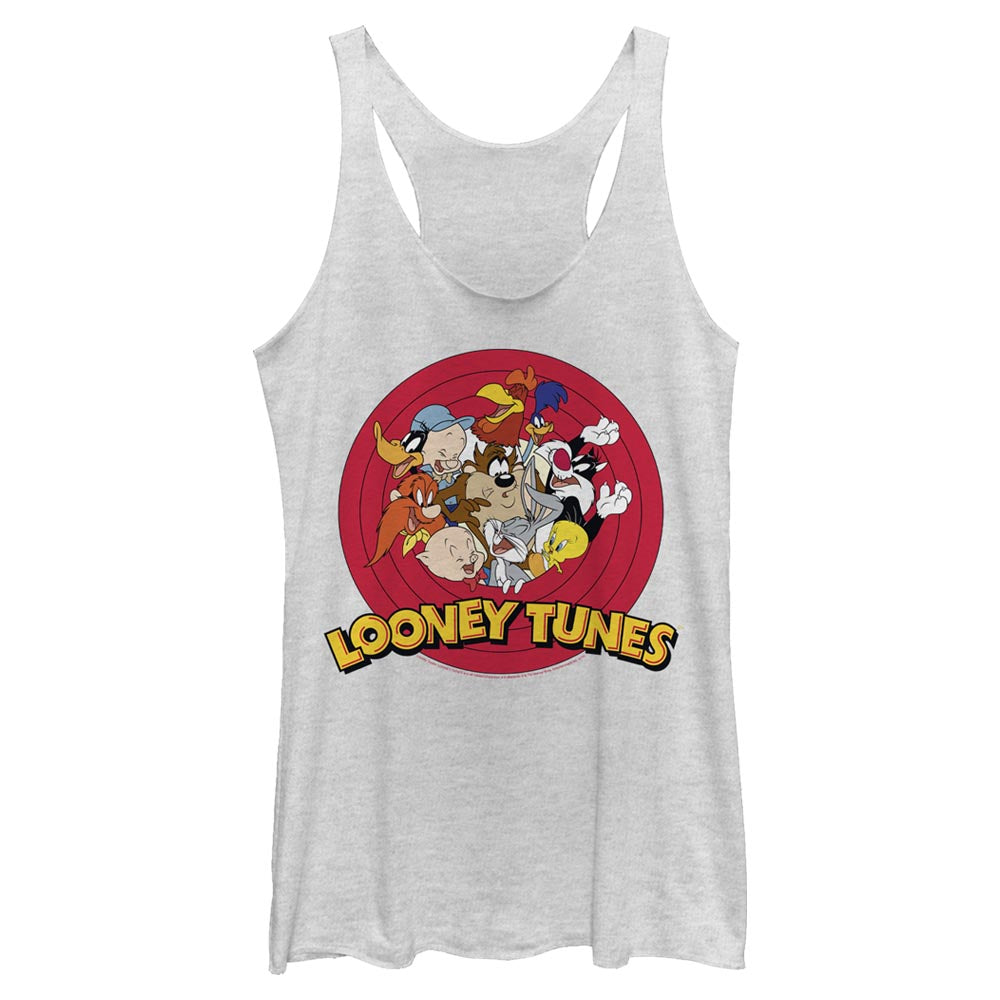 White Heather Looney Tunes Tune Squad Characters Women's Racerback Tank Image