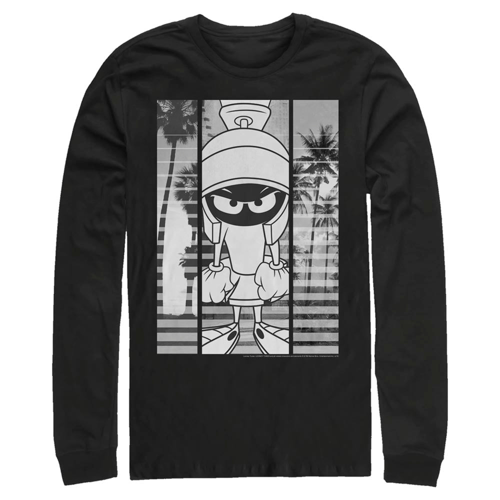 Black Marvin the Martian Black-and-White Block Long Sleeve Tee from Looney Tunes Image