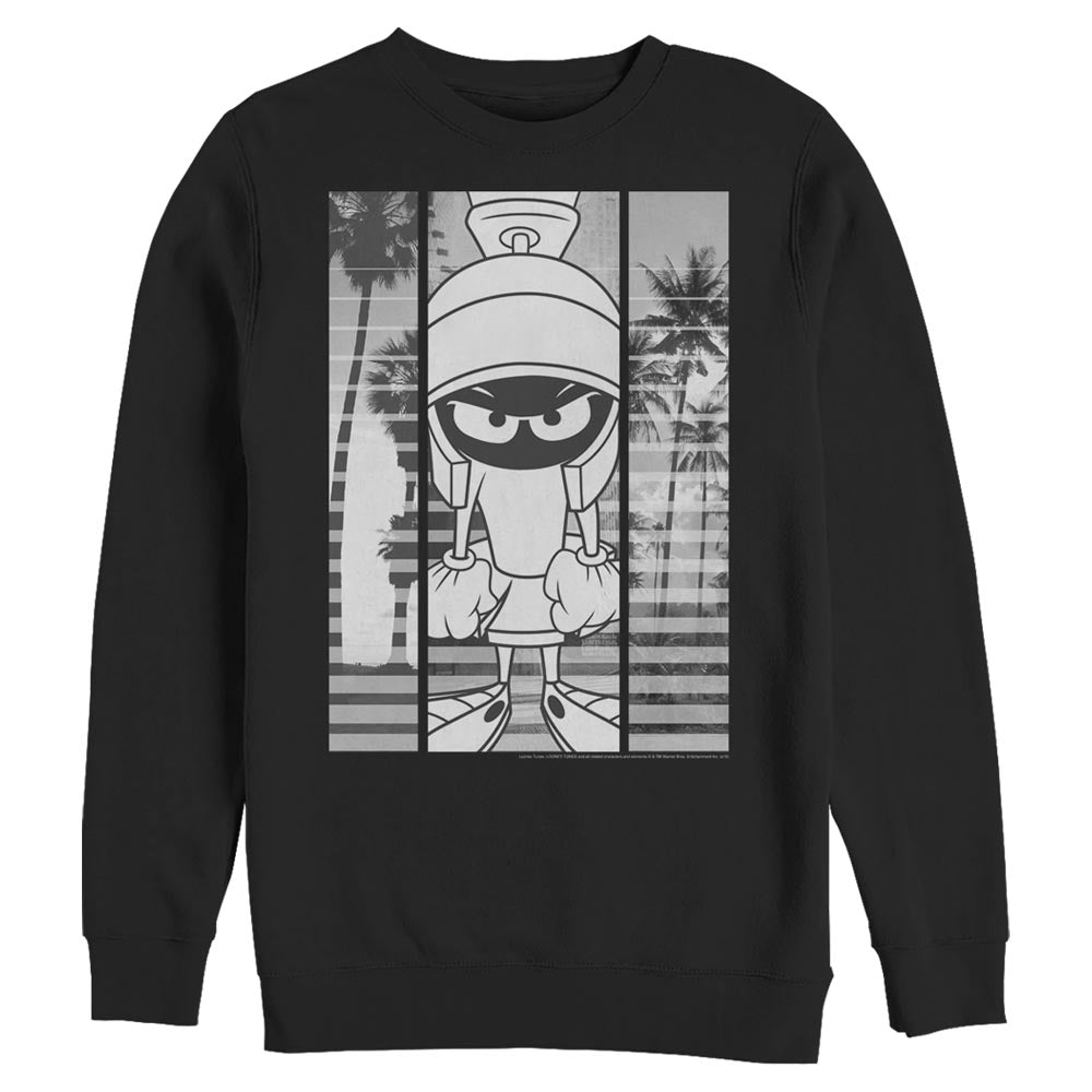Black Marvin the Martian Black-and-White Block Crew Sweatshirt from Looney Tunes Image