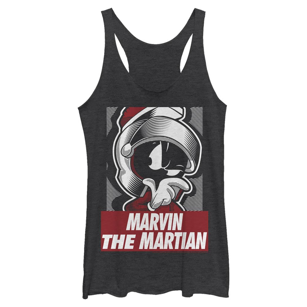 Black Heather Marvin the Martian Shining Armor Women's Racerback Tank from Looney Tunes Image