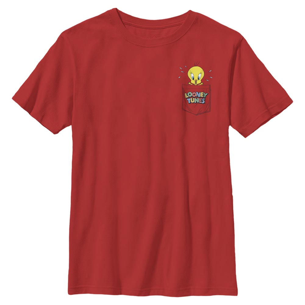 Red Tweety Bird Faux Pocket Kids' T-Shirt from Looney Tunes Image