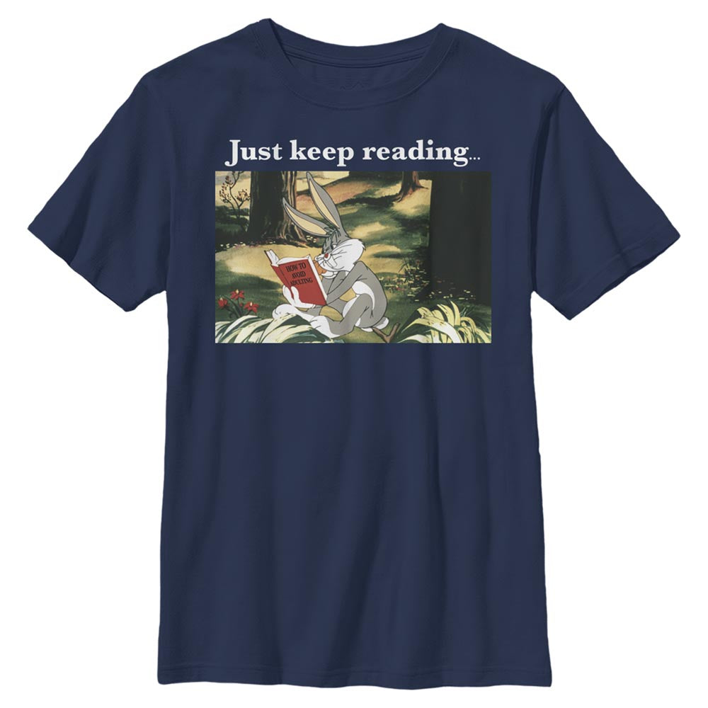 Navy Bugs Bunny Just Keep Reading Meme Kids' T-Shirt from Looney Tunes Image