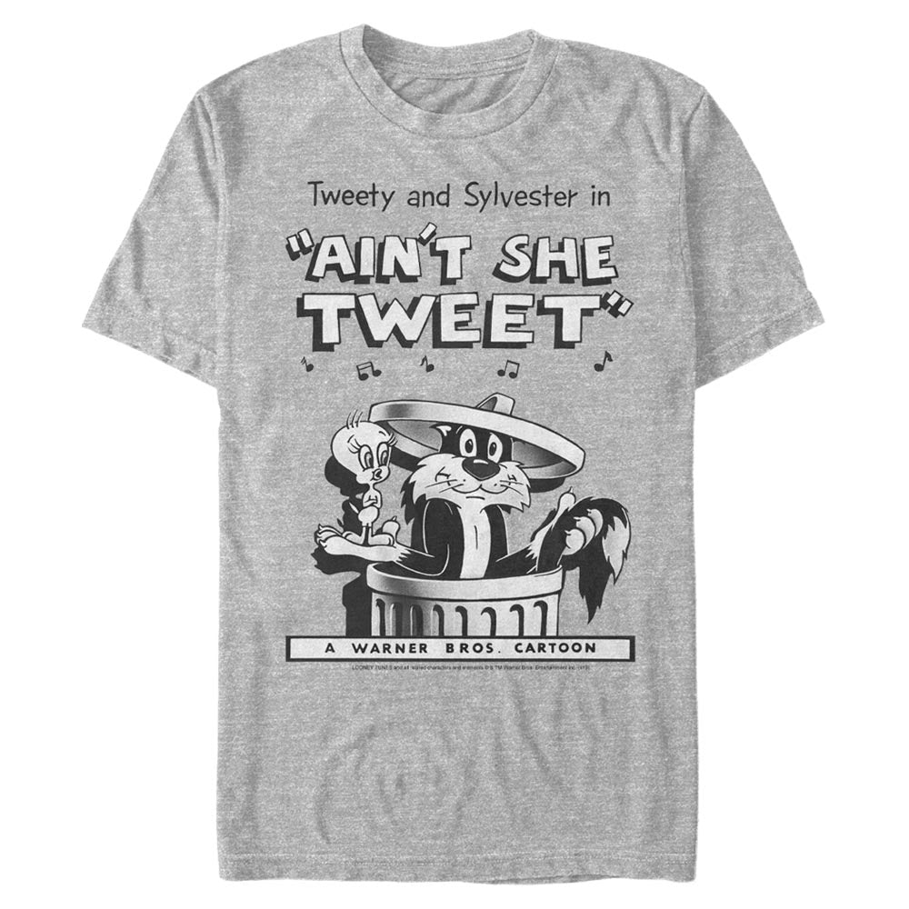 Grey Heather Tweety Bird and Sylvester the Cat T-Shirt from Looney Tunes Image