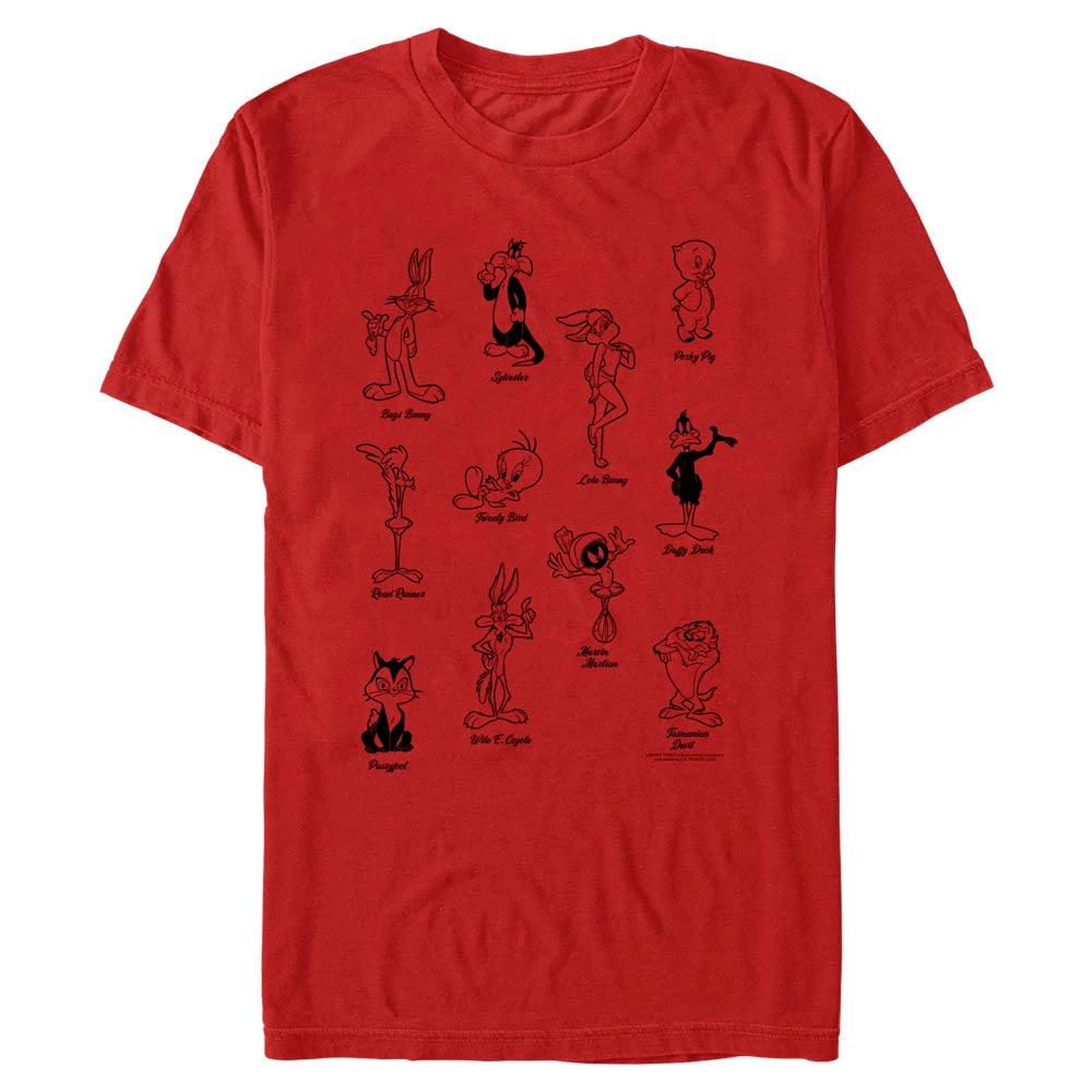 Red Tune Crew Character Poses T-Shirt from Looney Tunes Image