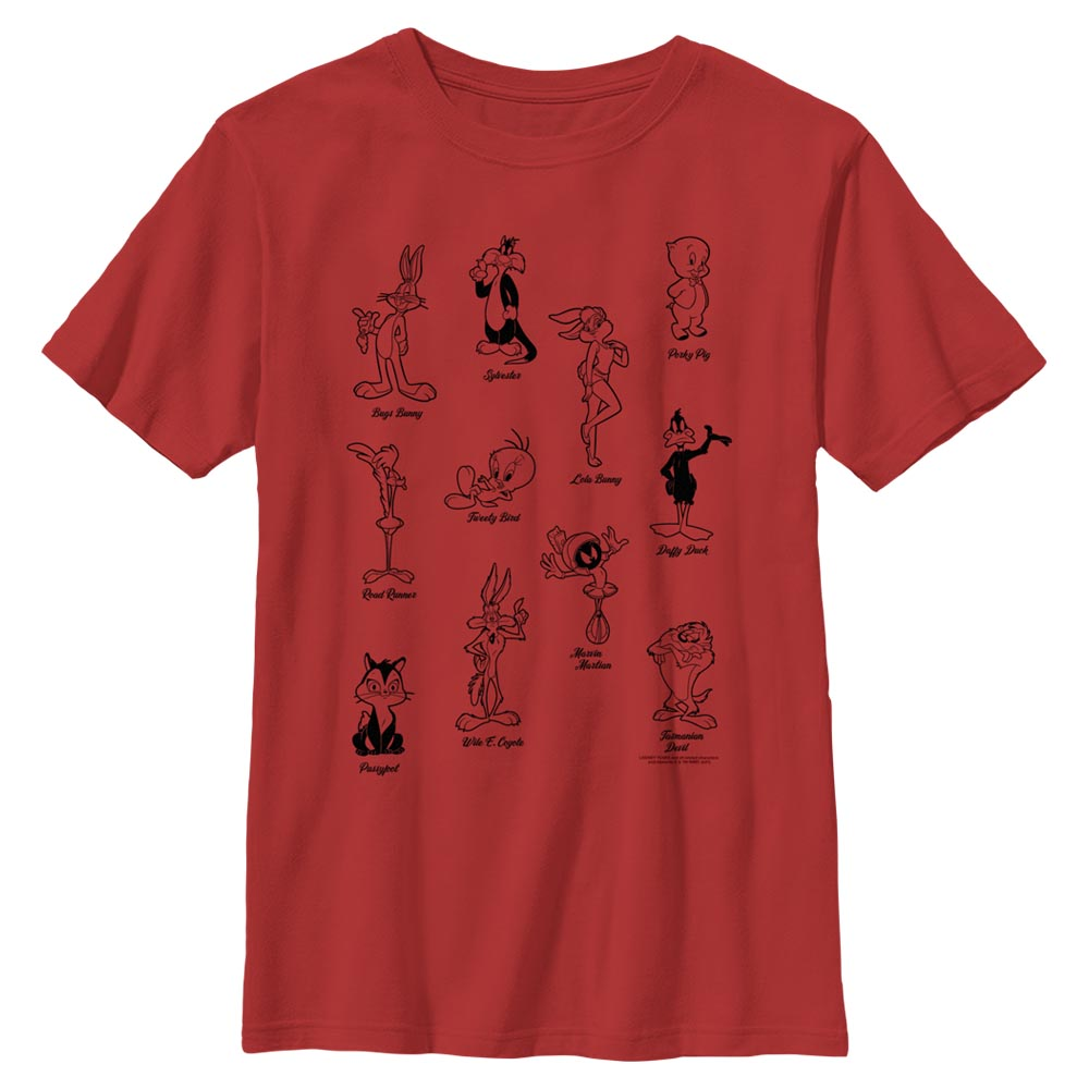 Red Tune Crew Character Poses Kids' T-Shirt from Looney Tunes Image