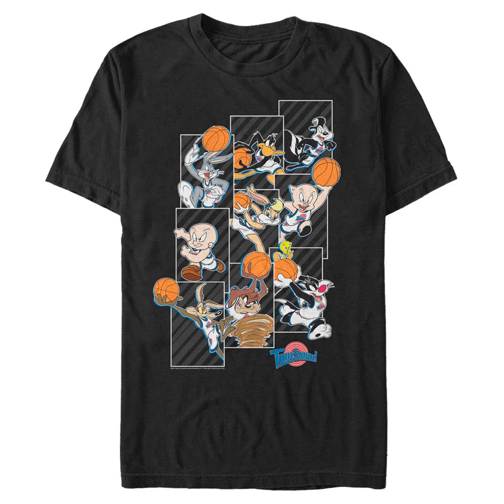 Black Tune Squad Character Collage T-Shirt from Space Jam Image