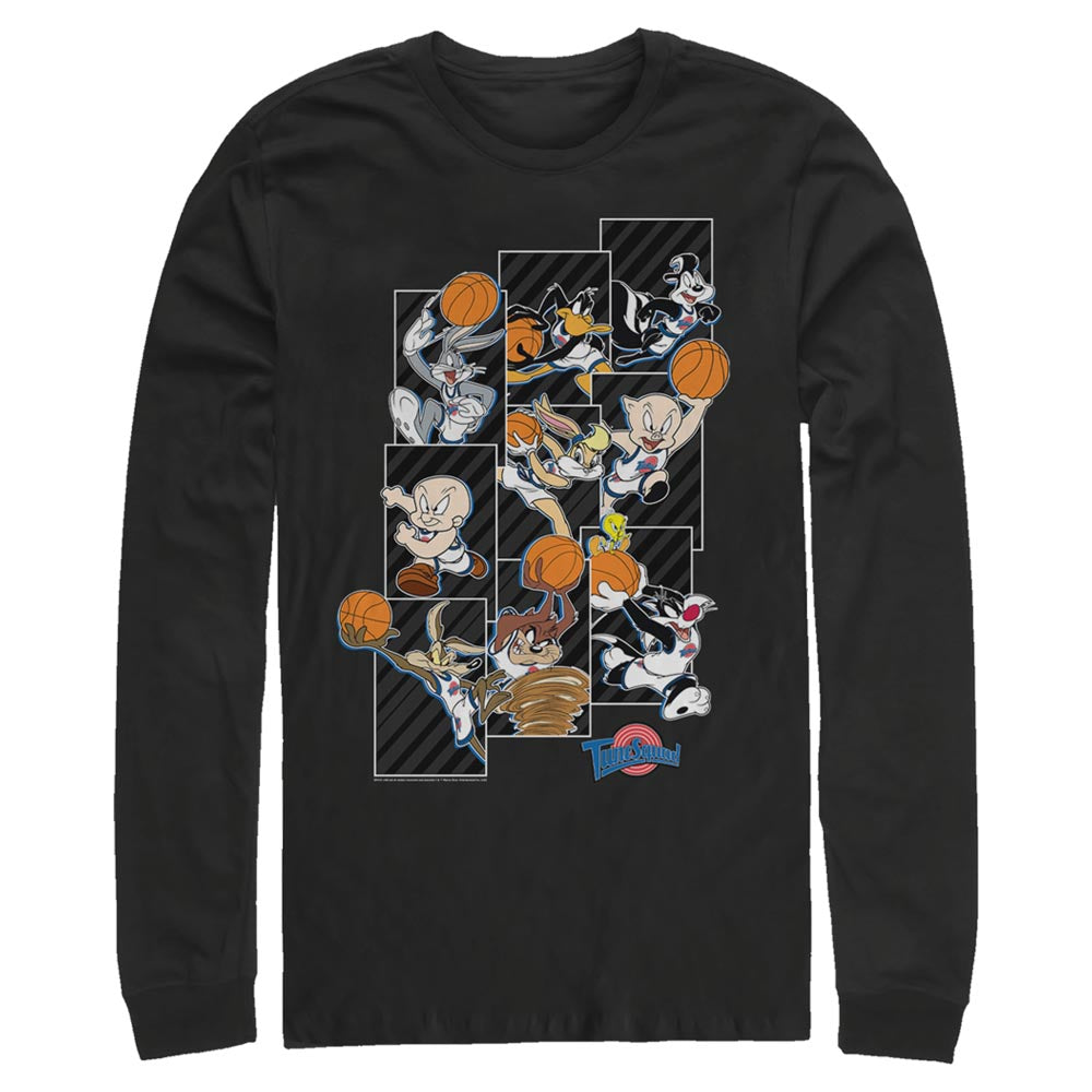 Black Tune Squad Character Collage Long Sleeve Tee from Space Jam Image