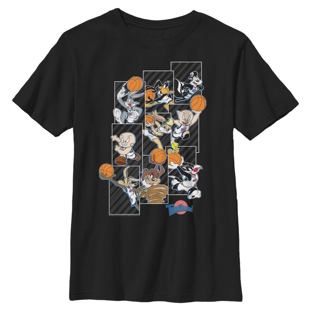 Black Tune Squad Character Collage Kids' T-Shirt from Space Jam Image