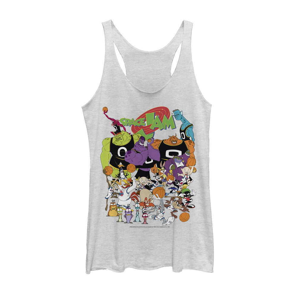 White Heather Space Jam Cast Members Women's Racerback Tank from Space Jam Image
