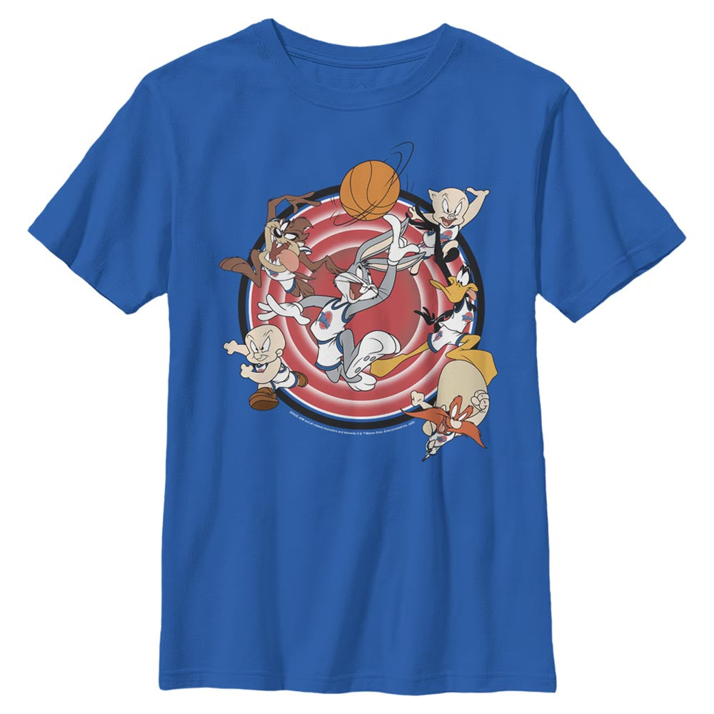 Royal Blue Tune Squad Leaping Kids' T-Shirt from Space Jam Image