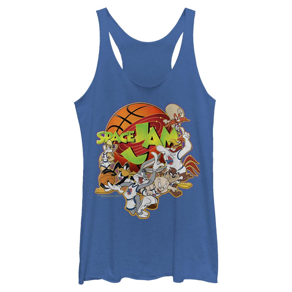 Royal Blue Heather Looney Crew Women's Racerback Tank from Space Jam Image