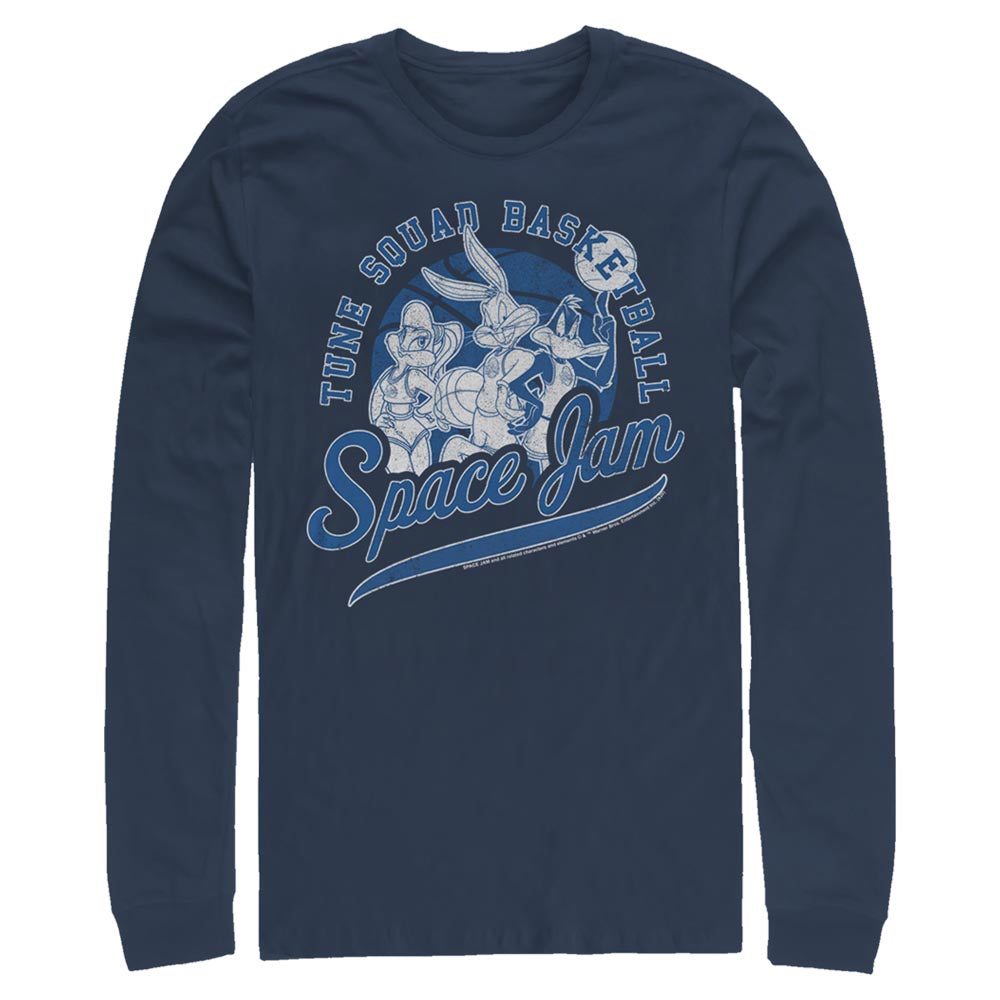 Navy Tune Squad Basketball Long Sleeve Tee from Space Jam Image
