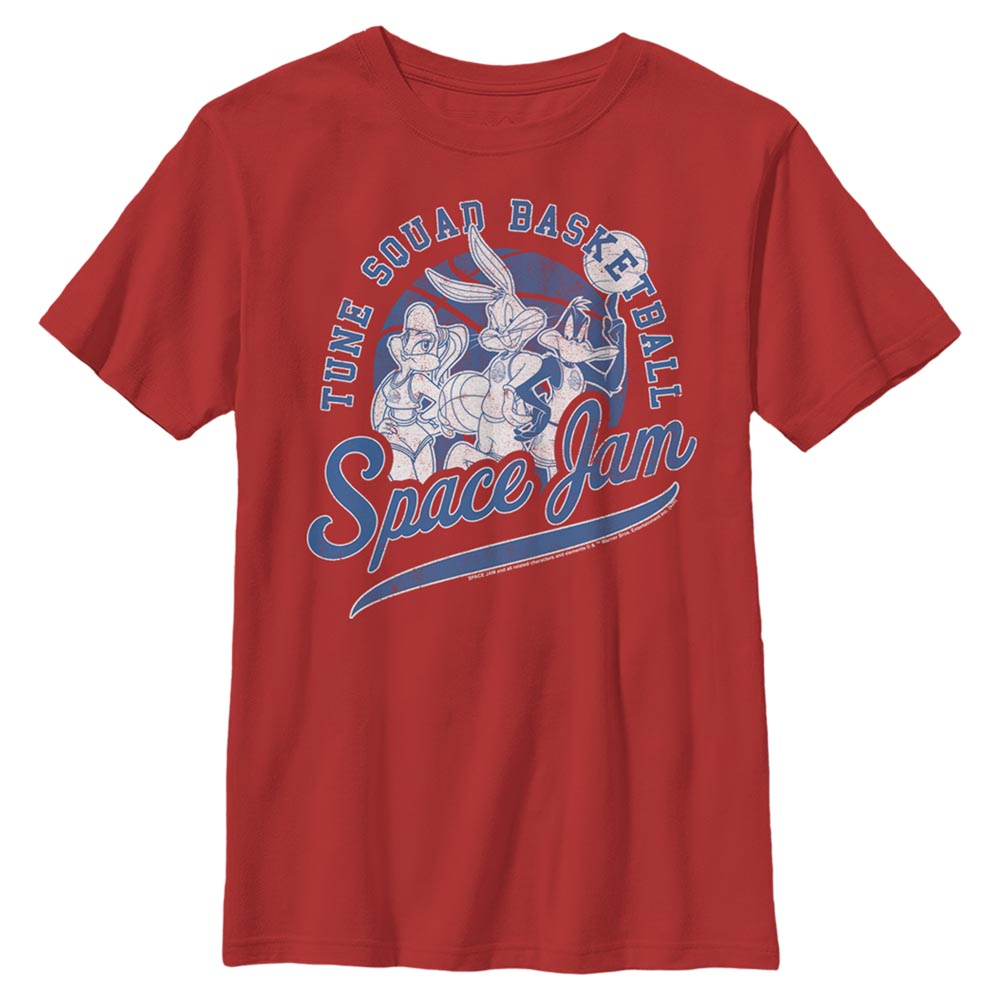 Red Tune Squad Basketball Kids' T-Shirt from Space Jam Image