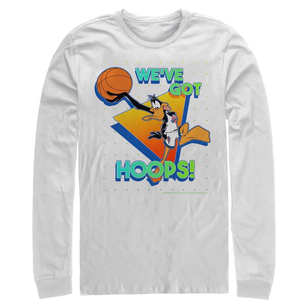 White Daffy Duck We've Got Hoops Long Sleeve Tee from Space Jam Image