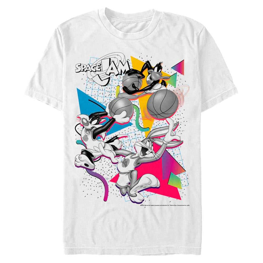 White Party Bugs Bunny, Daffy Duck, & Sylvester James Pussycat T-Shirt From Space Jam Image