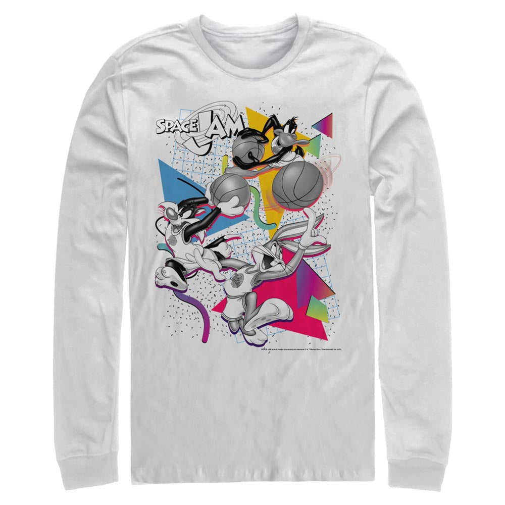 White Party Bugs Bunny, Daffy Duck, & Sylvester James Pussycat Long Sleeve Tee From Space Jam Image
