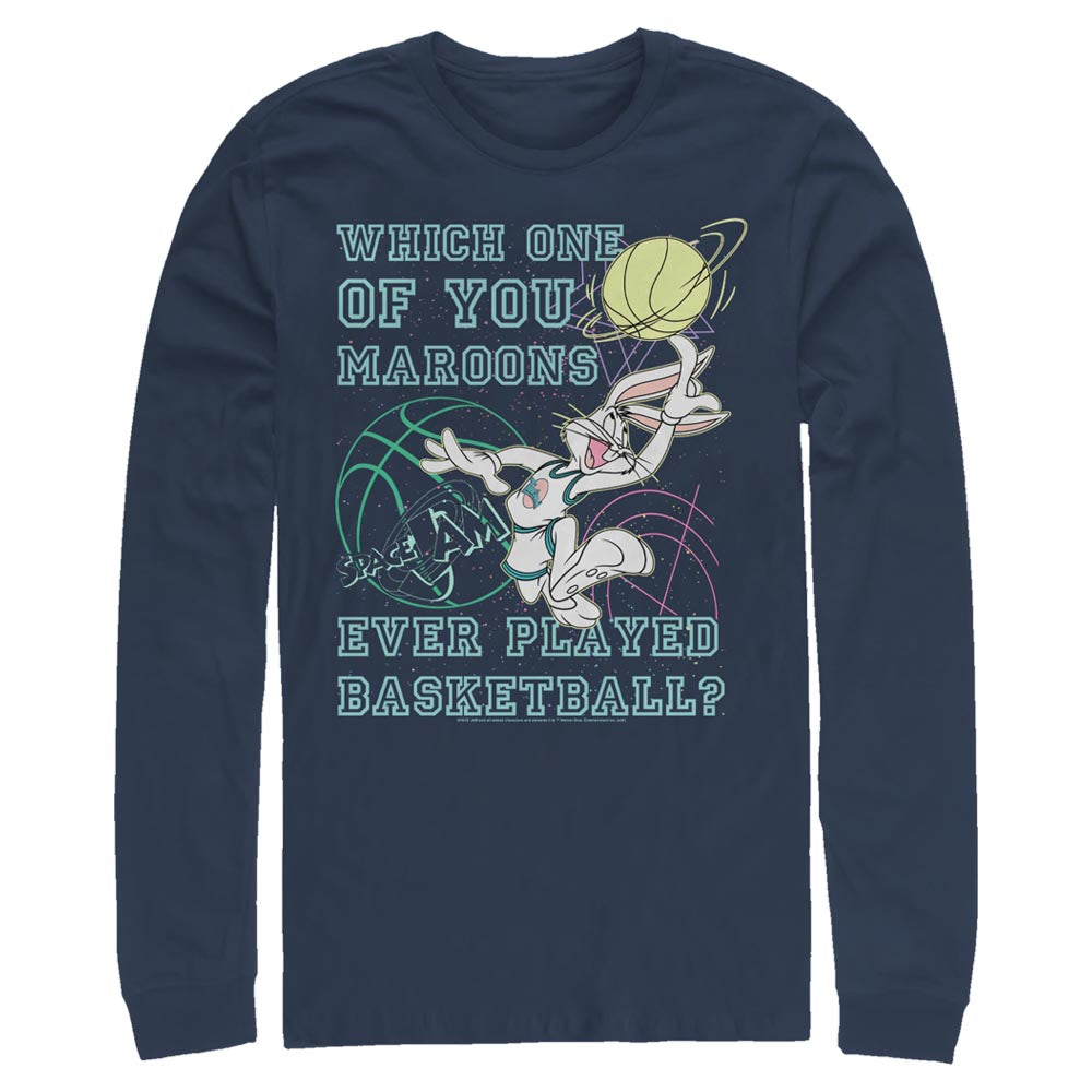 Navy Bugs Bunny Maroons Quote Long Sleeve Tee from Space Jam Image