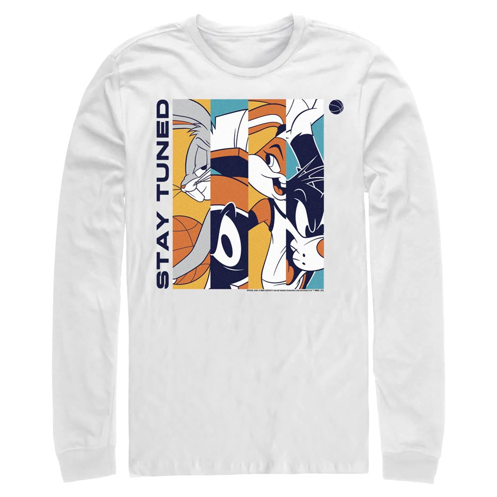 White Tune Squad Stay Tuned Color Long Sleeve Tee from Space Jam: A New Legacy Image