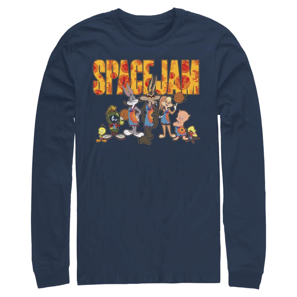 Navy Tune Squad Group Photo Long Sleeve Tee from Space Jam: A New Legacy Image