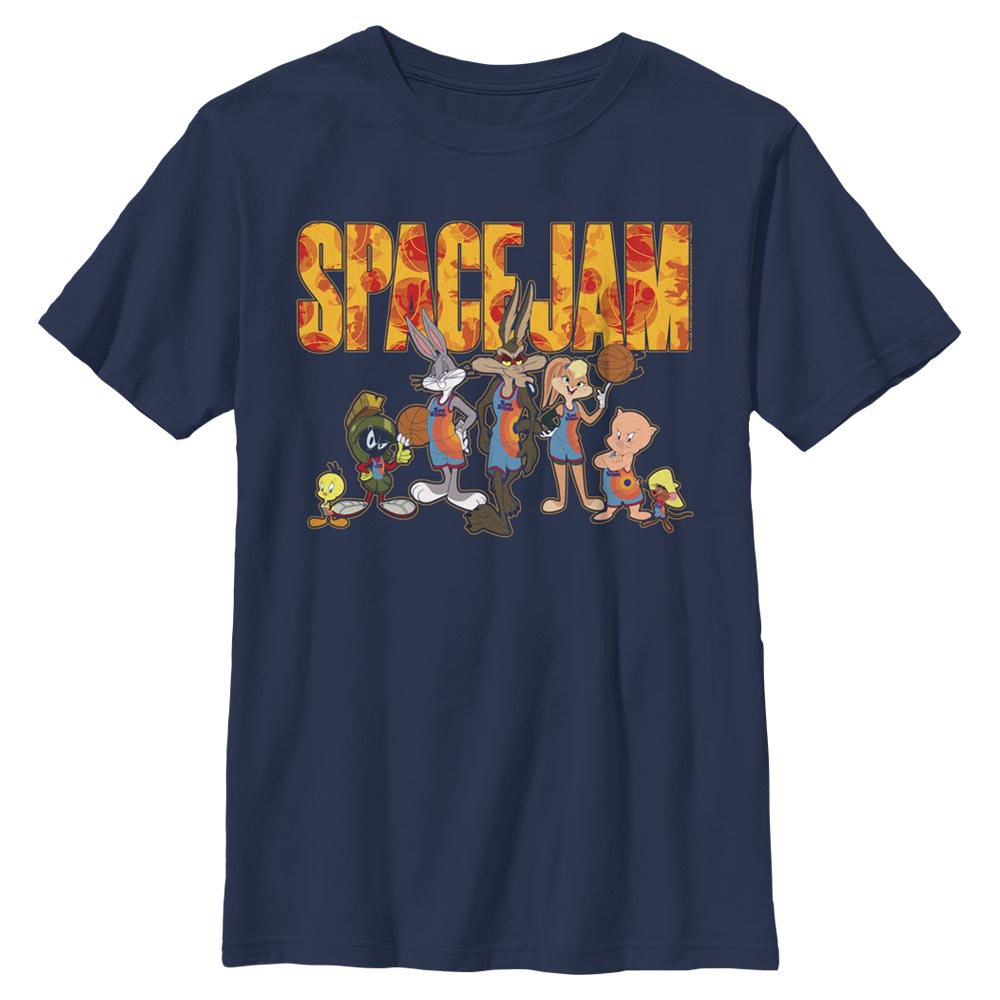 Navy Tune Squad Group Photo Kids' T-Shirt from Space Jam: A New Legacy Image