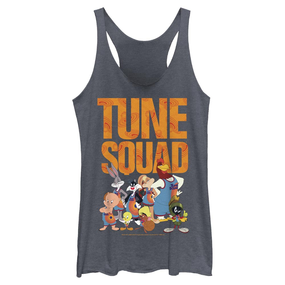 Navy Heather Tune Squad Team Collage Women's Racerback Tank from Space Jam: A New Legacy Image