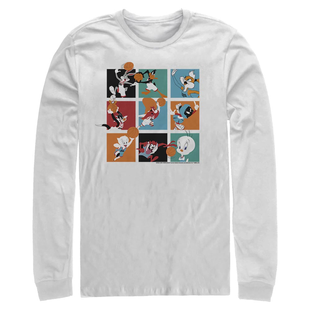 White Let's Ball Character Collage Long Sleeve Tee from Space Jam: A New Legacy Image