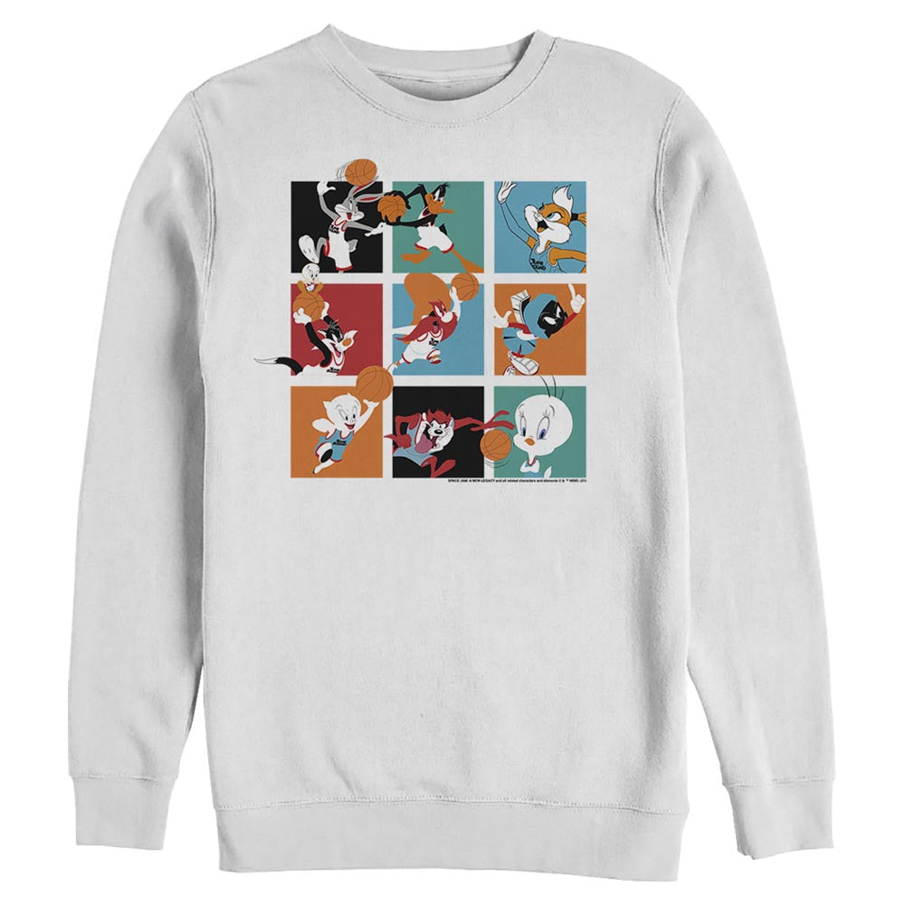 White Let's Ball Character Collage Crew Sweatshirt from Space Jam: A New Legacy Image
