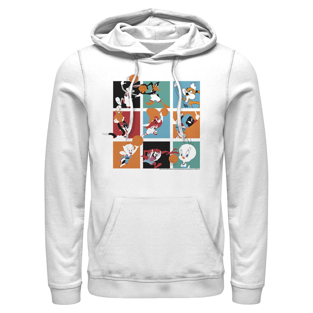 White Let's Ball Character Collage Hoodie from Space Jam: A New Legacy Image
