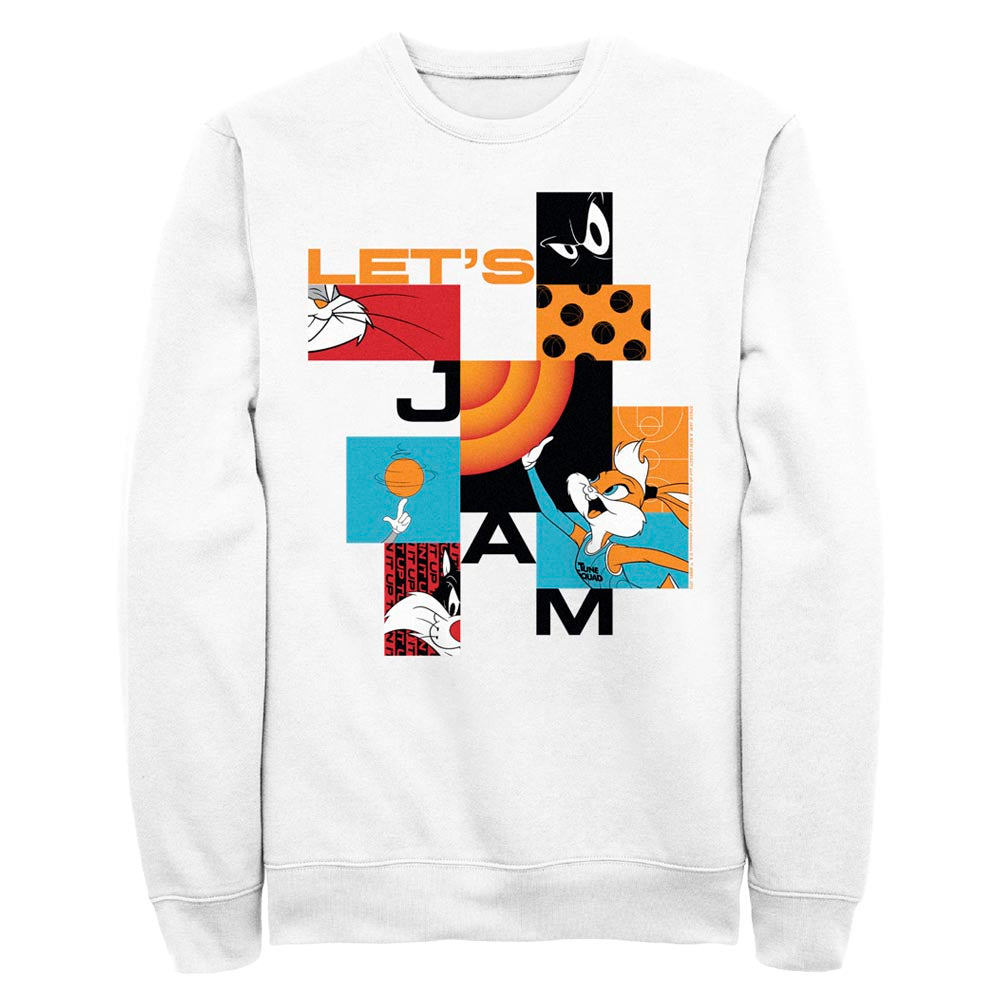 White Let's Jam Abstract Crew Sweatshirt from Space Jam: A New Legacy Image