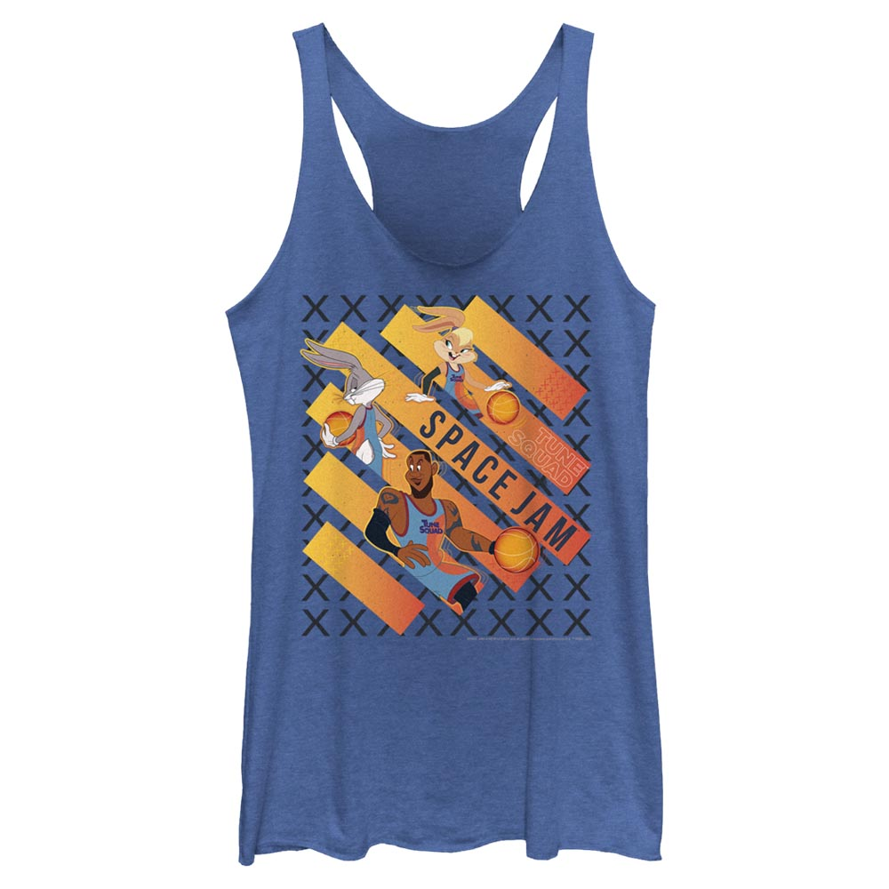 Royal Blue Heather Space Jam Game Time Women's Racerback Tank from Space Jam: A New Legacy Image