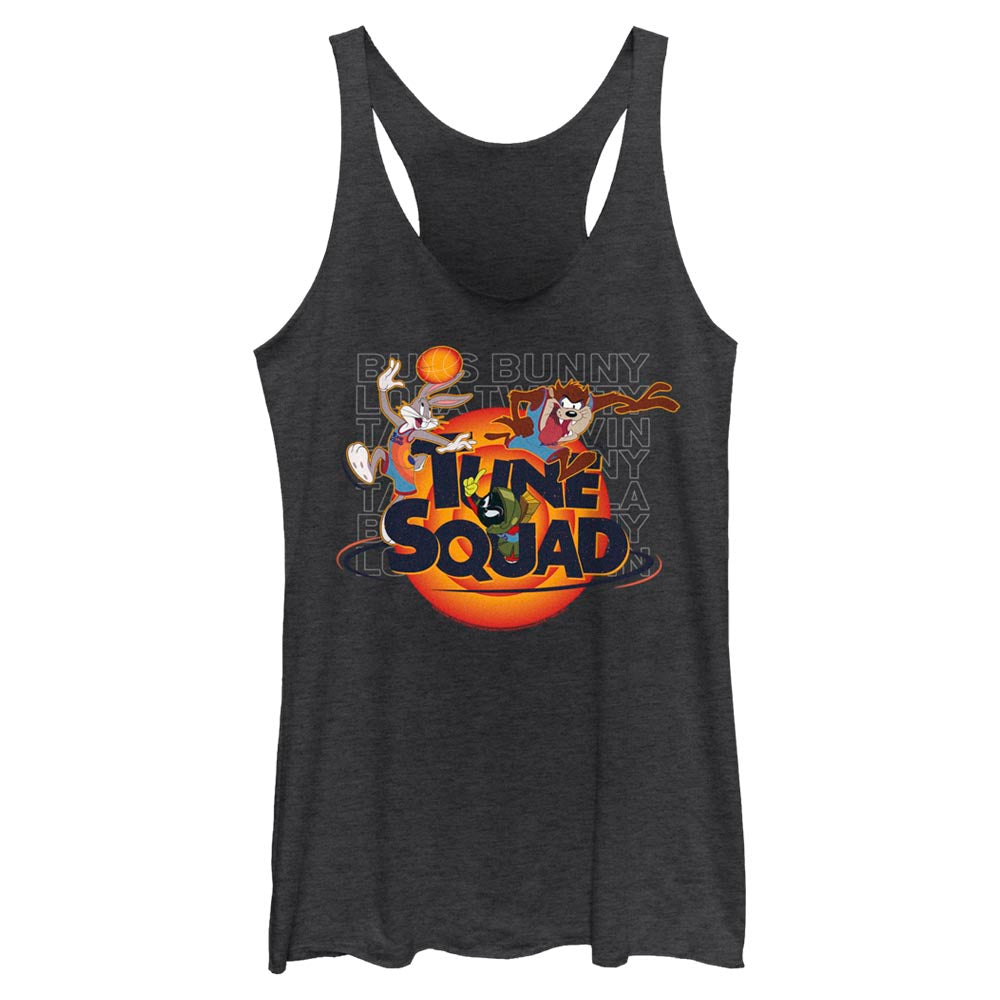 Black Heather Let's Get Looney Women's Racerback Tank from Space Jam: A New Legacy Image