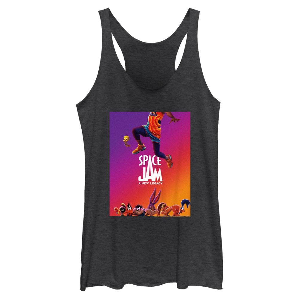 Black Heather JUMP Poster Women's Racerback Tank from Space Jam: A New Legacy Image