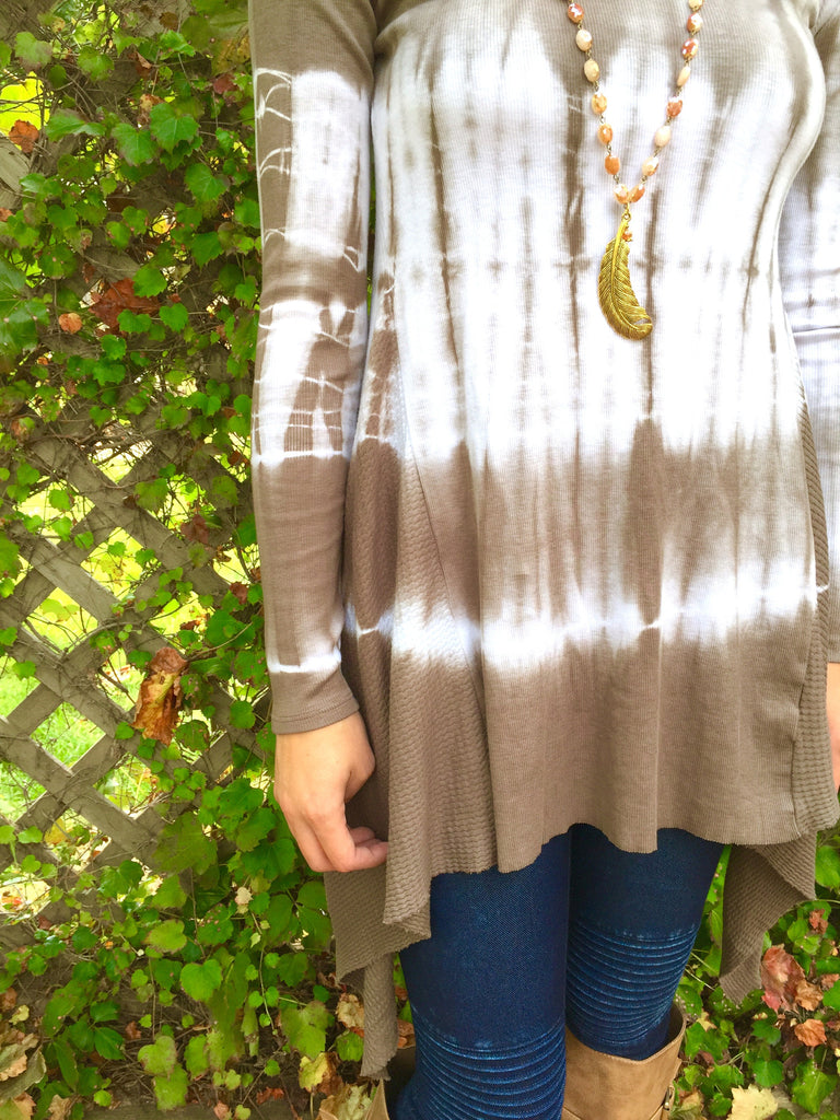 Grey Tie-Dye Thermal Tunic