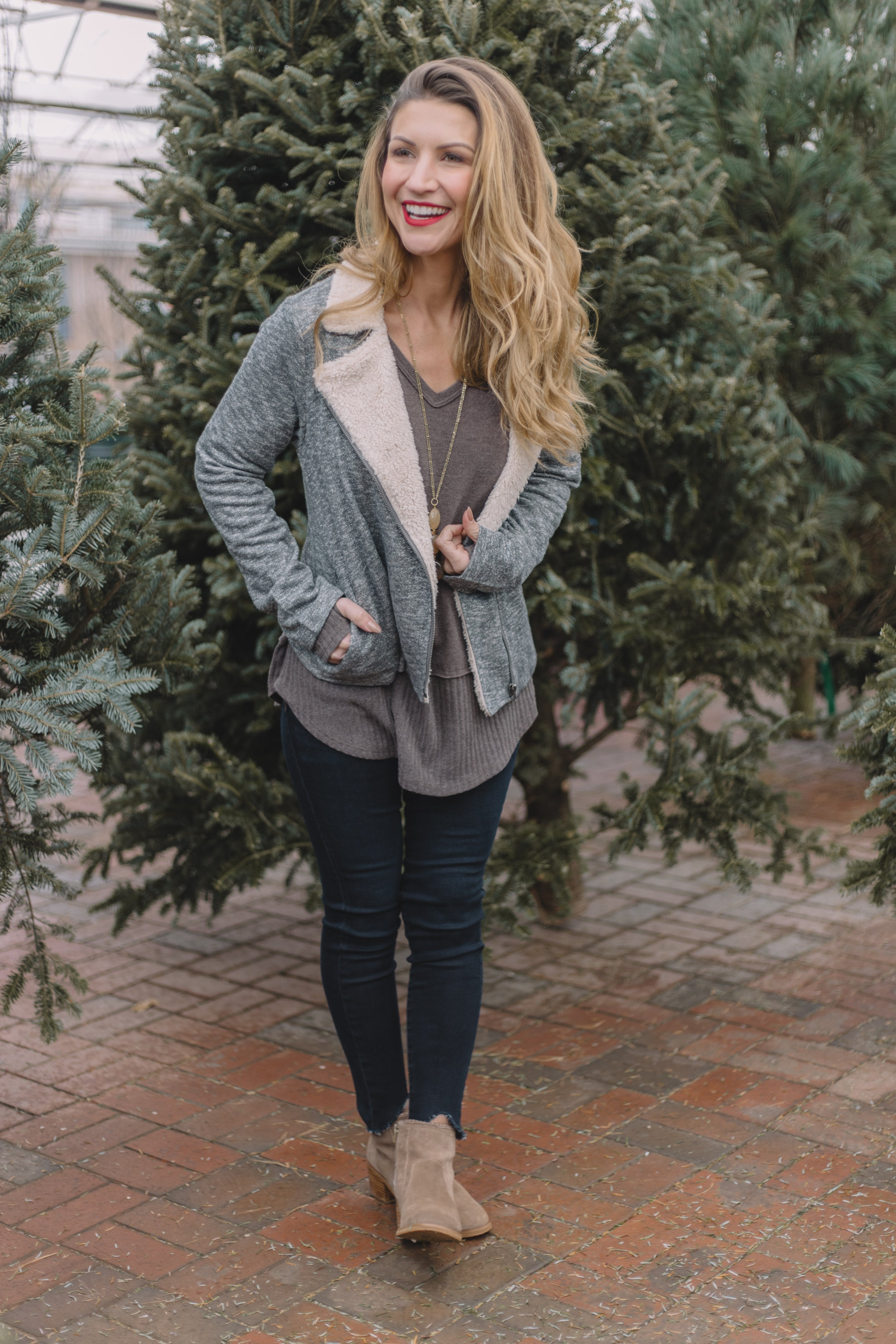 Grey Shearling Lined Fleece Jacket