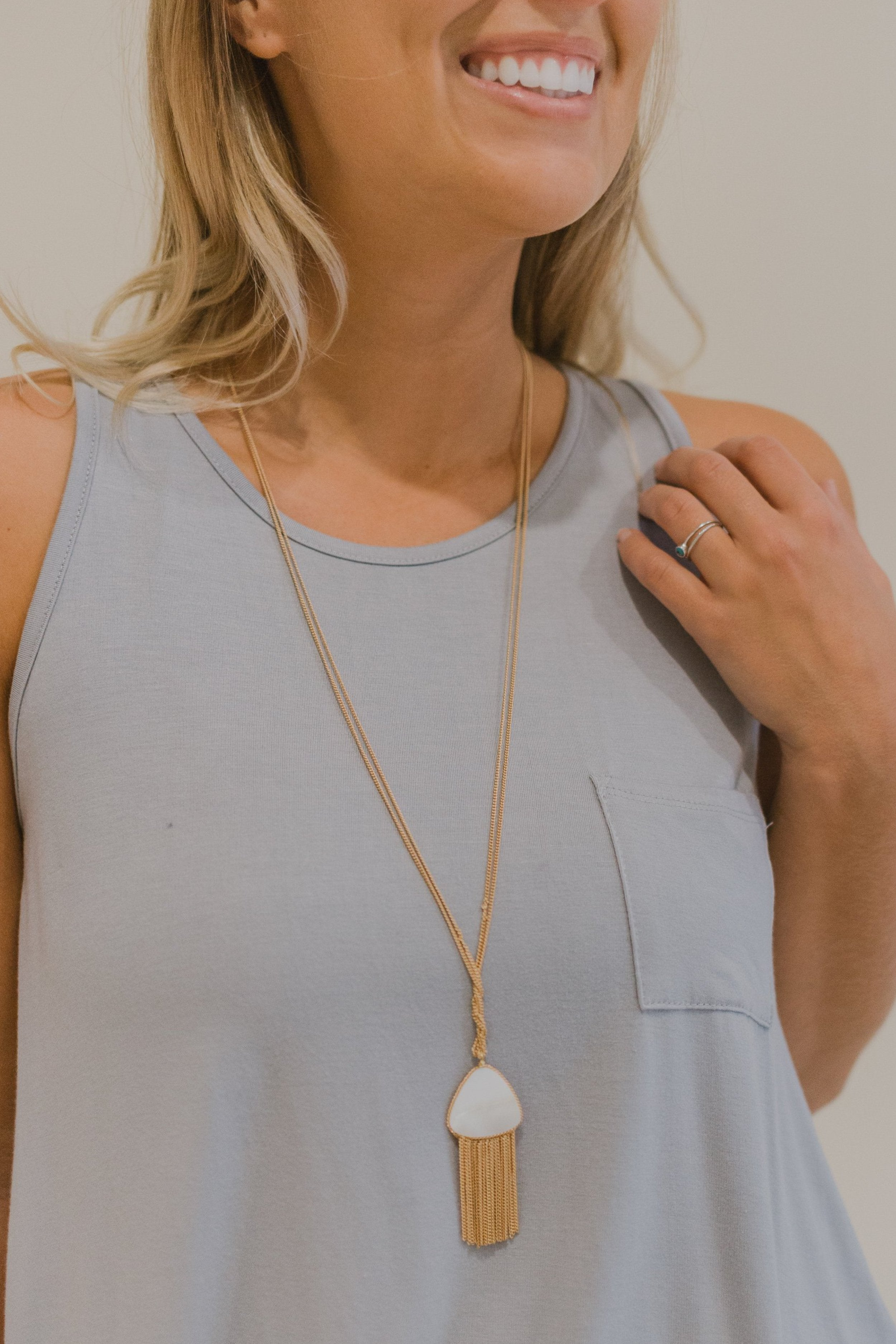 Matte Gold Shell Triangle & Tassel Necklace