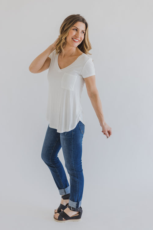 Harper Jersey V-Neck Top *White