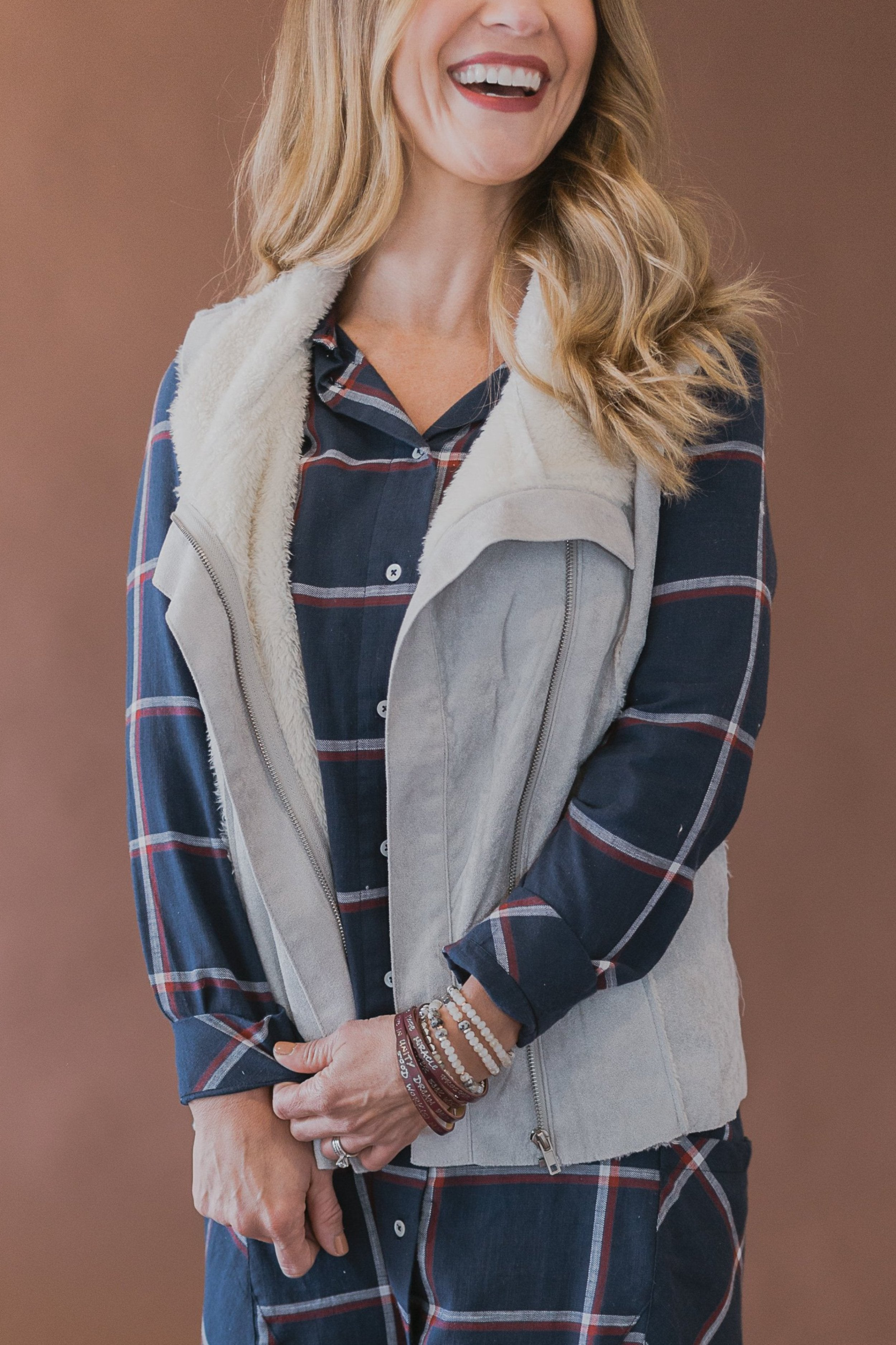 Light Grey Faux Suede Vest