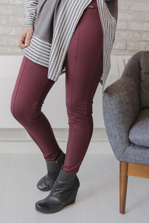 Wine Front Zipper Riding Pants
