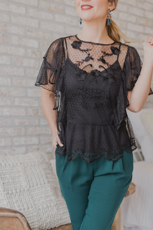 Dobby Mesh Embroidered Frill Top