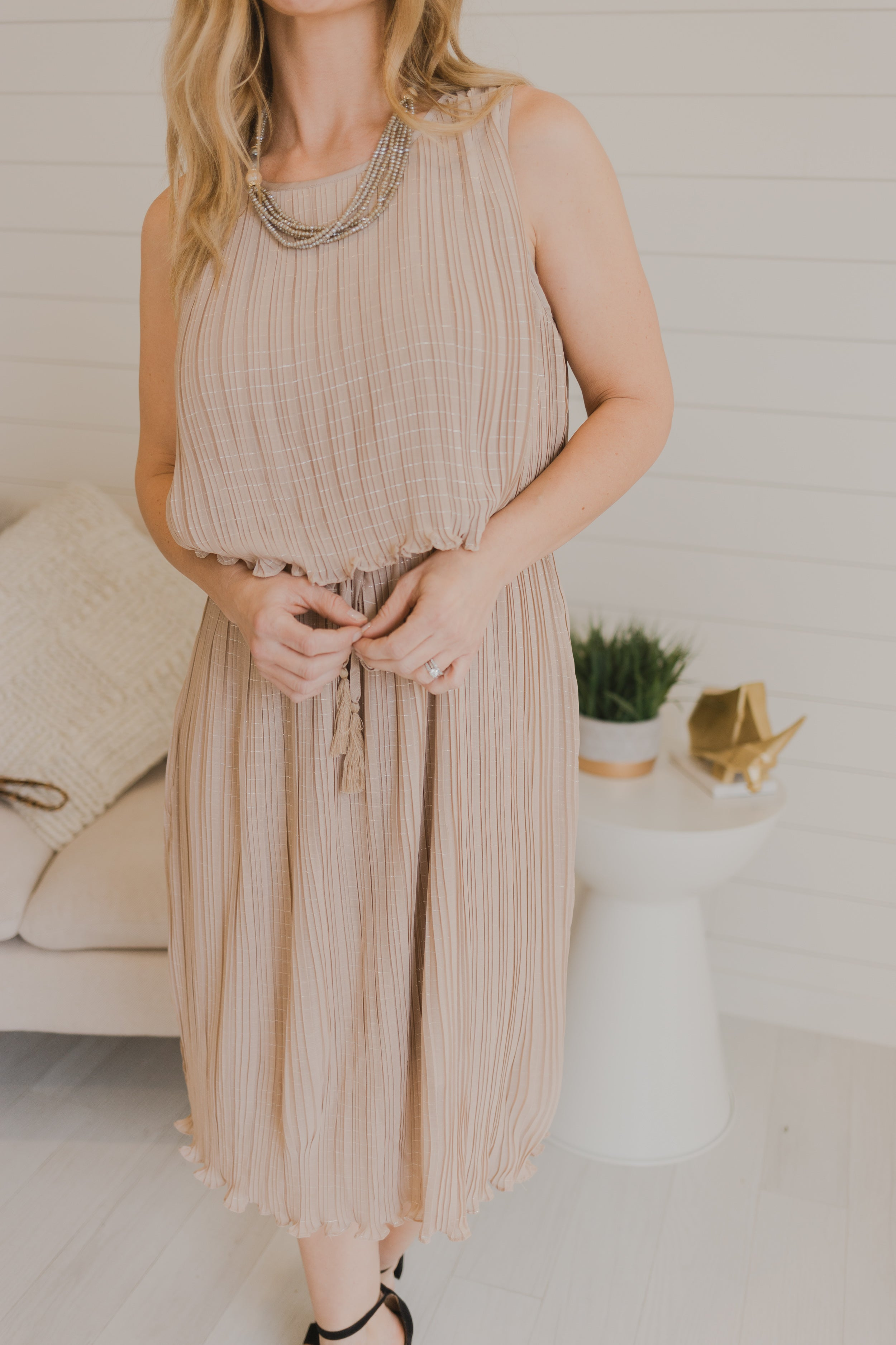 Mocha Metallic Chiffon Pleated Dress